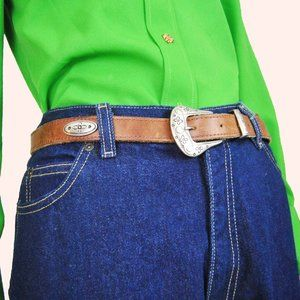 90s Leather Floral Concho Silver Belt
